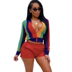 Striped Multicolored Mesh Bomber Jacket